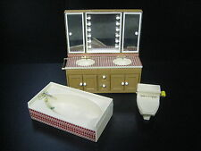 Vintage Tomy Dollhouse Bathroom Furniture Toilet Sink Bathtub Miniature Japan