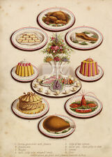 ANTIQUE Cooking Print (Lobster, Turkey, Sandwiches, Ham, Jelly) 1900s #D627