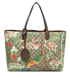 Authentic Gucci GG Supreme Coated Canvas Tian Garden Painted Shoulder Tote Bag