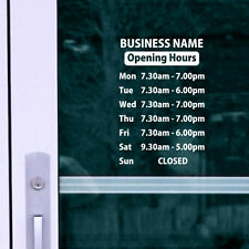 OPENING TIMES + SHOP NAME Window, Wall Sign Vinyl Decal Sticker, opening hours 4