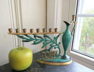 Vintage 1950s Brass Hanukkah Menorah Green Enamel Oil Jug Olive Branch Israel