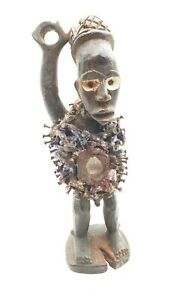 VINTAGE AFRICAN TRIBAL HAND CARVED ART BAS CONGO FETISH STATUE DOLL FIGURINE