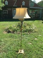 Victorian  Cast Iron Floor Lamp  with Shade  Electric Floor Lamp 61in