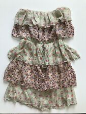 MM Couture Silk Vintage Floral Blouson Strapless Dress XS Tiered Light & Flowy
