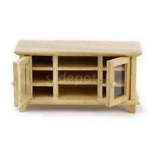 Dollhouse Miniature Natural Finish Wooden TV Cabinet Stand with Working DOOR