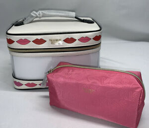 NWT  2 Piece victoria's Secret Clear Train Case And Make Up Bag Cosmetic Case