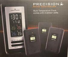 Weather Station Radio Controlled Temperature Clock Alarm + 3 Remote Sensor Units