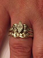 14k Yellow Gold Double Trillion Diamond Engagement Ring W/ Band, 1.75Ct Sz 9 1/4