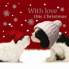 Festive friends Cavalier King Charles Dog & Guinea Pig 10 pack small Xmas cards