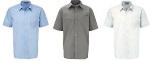 Traditional Button Front Grey / Blue / White SHORT Sleeve School Uniform Shirts