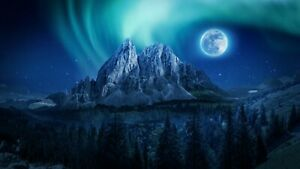 Northern Lights Moon Mountain Landscape Wall Art Large Poster & Canvas Pictures