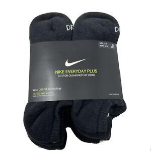 Nike No Show Socks Womens 6-10 Everyday Cushion Pack of 6 pairs Black Dri-Fit