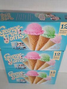 George & Tom's Sugar Ice Cream Cones ~ 3 Boxes! No Fat Diet! Pointed FREE SHIP