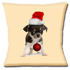 "TAN BLACK CHIHUAHUA PUPPY SANTA HAT CHRISTMAS BAUBLE 16"" Pillow Cushion Cover"