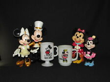 6 pc Disney Mickey and Minnie Mouse Lot Mugs, Bank, Figures