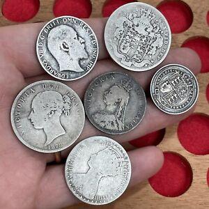 Georgian, Victorian And Edwardian Silver Coins, Halfcrown, Florins Etc (6 Coins)