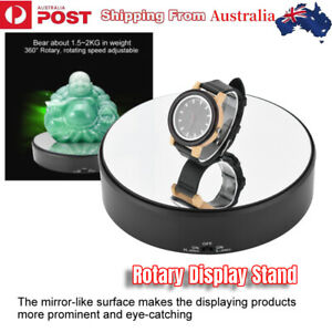 Mirror Glass 360°Rotating Rotary Display Stand Turntable 2kg Load Battery AU
