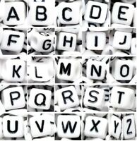 acrylic alphabet beads, 8 mm, white cube, mixed & single black letter A, B, C..Z