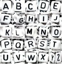 acrylic alphabet letter beads, 6 mm, cube, white, mixed & individual A, B...Z