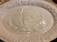 Gibson Ivory Fine Ceramic Porcelain Turkey Serving Platter 18.75 X 13 Inches