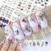 14 Sheet 3D Nail Art Water Transfer Stickers Butterfly Flower Decals Manicure AU