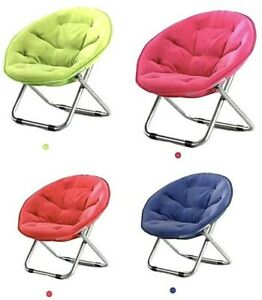 Extra Large Folding Saucer Moon Chair Padded Round Seat Oxford Portable Outdoor