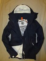 Superdry Mens Windcheater Hooded SHERPA lined Jacket coat Navy Blue
