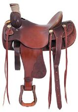Western Havana Leather Hand Carved Roping Ranch Saddle with Strings 17""