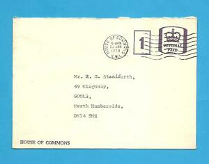 Envelope postmarked ( House of Commons ) Dated 23rd January 1978.