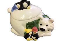 HOUSE OF LLOYD POLAR BEAR & PENGUINS COOKIE JAR CHRISTMAS AROUND THE WORLD