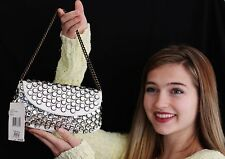 Betsey Johnson White Patent Leather Rhinestone Shoulder Handbag JEWELS Small