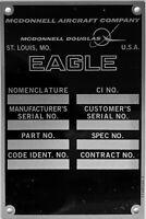 Reproduction McDonnell Douglas F-15 Eagle Data Plate, Vintage Aviation  DPL-0125