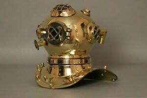 Vintage U.S Navy Mini Divers Diving Helmet Brass Finish Diving Divers Helmet