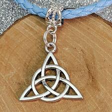 Triquetra Celtic Knot Silver Tone Charm Beads For European Bracelets