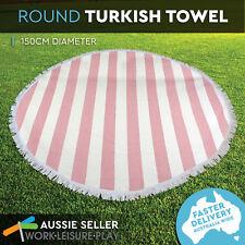 Round Turkish Towel Roundie Beach Summer Bikini Boho Tapestry Wall 150cm Coral