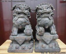 Chinese Folk Pottery Porcelain Foo Dog Guardian-Lion Kylin Beast Fengshui Statue