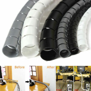 2M 10mm Spiral Cable Wrap Tidy Cord Wire Banding Storage Organizer Tool AU