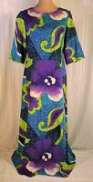 Vintage 60's 70's Hawaiian MAXI dress size 12 MEDIUM Purple Blue Floral PRISTINE
