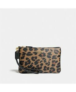 COACH Leopard Print Small Wristlet Black brown multi!!