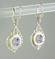 Genuine Tanzanite Drop Leverback Earrings, 925 Sterling Silver