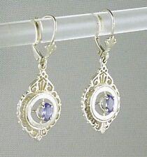 Genuine Tanzanite Drop Leverback Earrings, 925 Sterling Silver