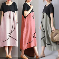 ZANZEA Womens Summer Short Sleeve Sundress Casual Loose Baggy Kaftan Midi Dress