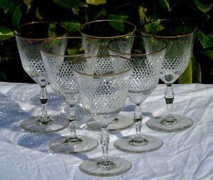 Bayel? Service de 6 verres à eau en cristal taillé.  Haut. 15,3 cm