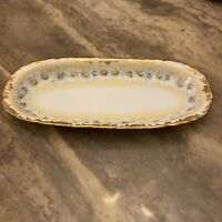 """Vintage T&V Geo Deuble Canton 9  Gold Gilded Hand Painted Daisy Dish 12 1/8"""""""