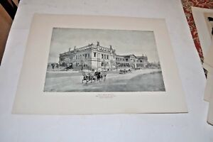 ANTIQUE VINTAGE LITHOGRAPH PRINTS CHIGAGO WOMAN'S BUILDING