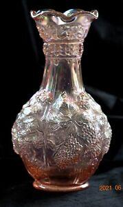 """Vintage Carnival Glass Imperial Pink Loganberry 10 1/4"""" Flower Vase"""