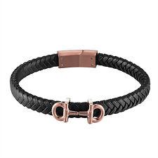 Mens AA Designer Leather Bracelet Rose Gold Finish Stainless Steel