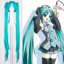 Nouveau Vocaloid Hatsune Miku 2 Queues-de-cheval Bleu Clair Cosplay Perruque