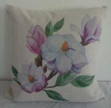 Prettiest  Pink & White Magnolias Linen Blend Cushion Cover 45cmn