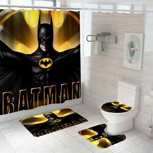 Hot Batman Bathroom Rugs Set Shower Curtain Bath Mat Contour Toilet Lid Cover